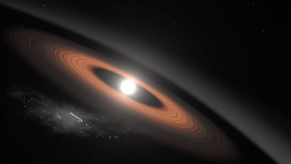 Illustration of dust rings around a distant star.