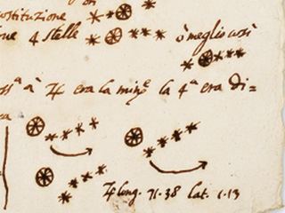 Journal showing illustrations of Jupiter and moons.