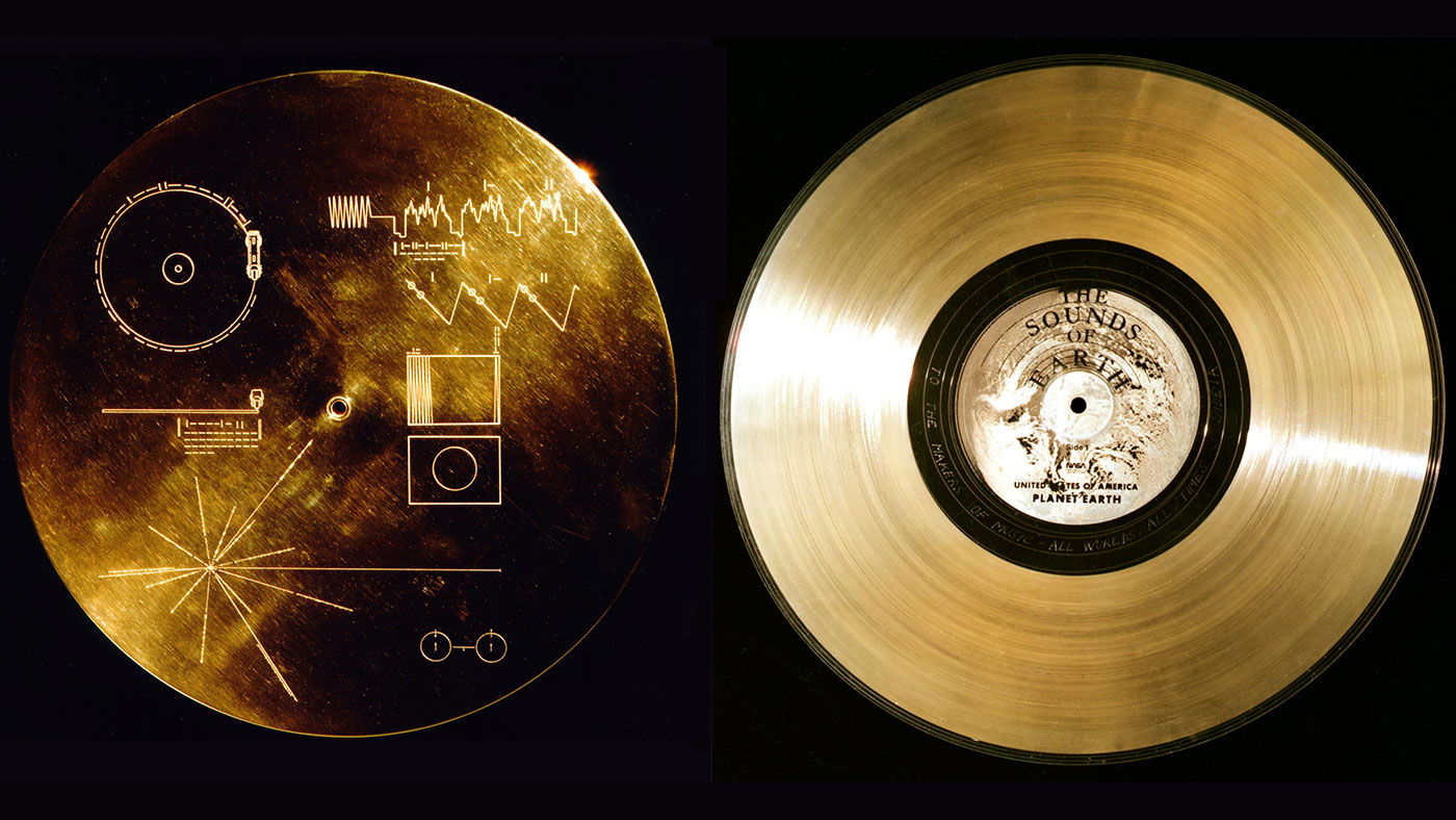 Golden record with cover that includes details about Earth's location in space.