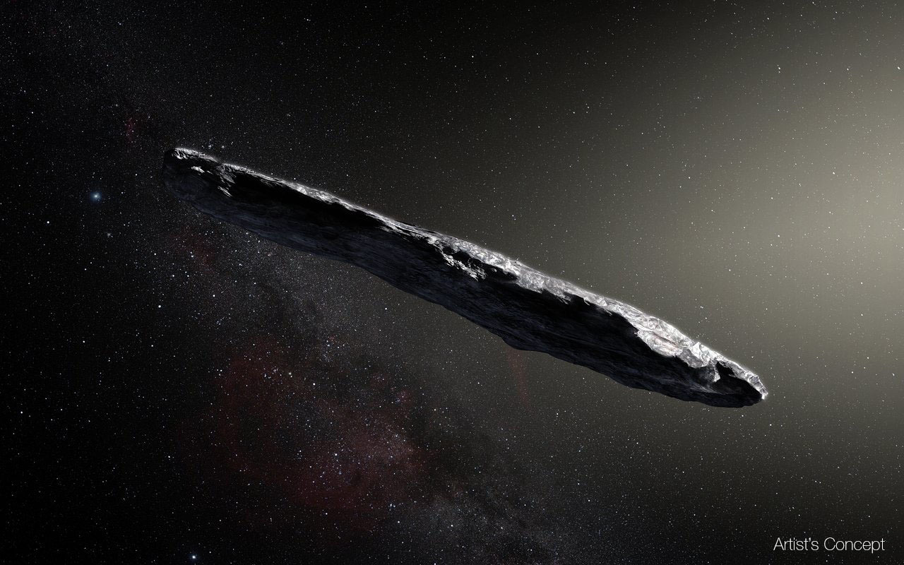 Artist's concept of cigar-shaped space rock.