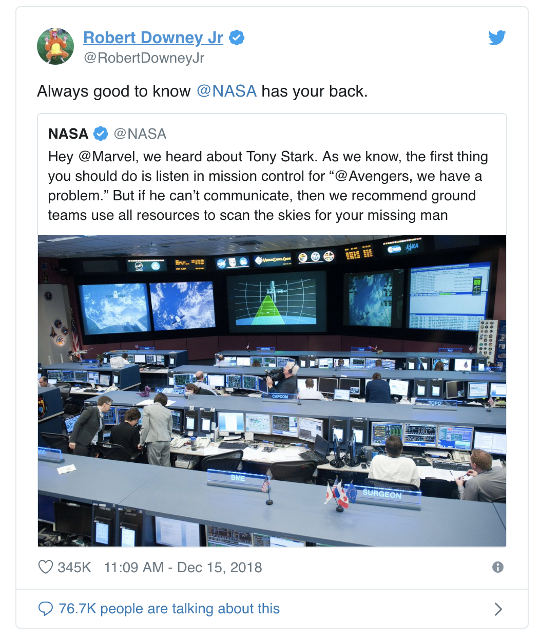"Tweet from Robert Downey Jr. that says ""Always good to NASA has your back."""