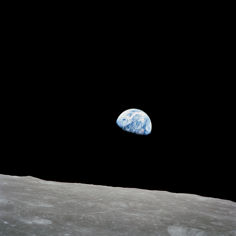 Earth rising over the Moon