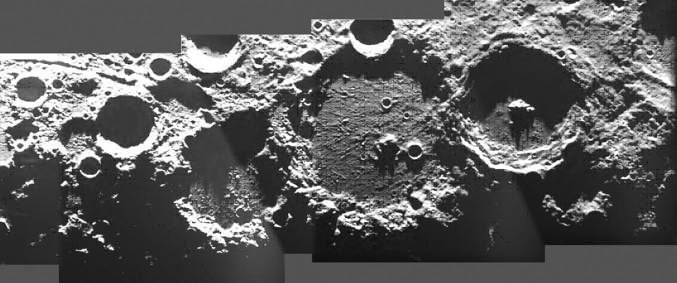 Series of overlapping craters on the Moon.