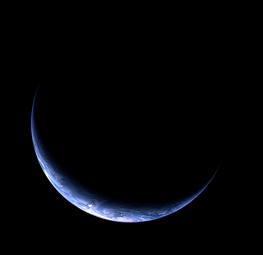 thin crescent earth
