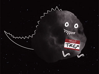 Cute illustration of an asteroid made up to look like a cartoon dinosaur