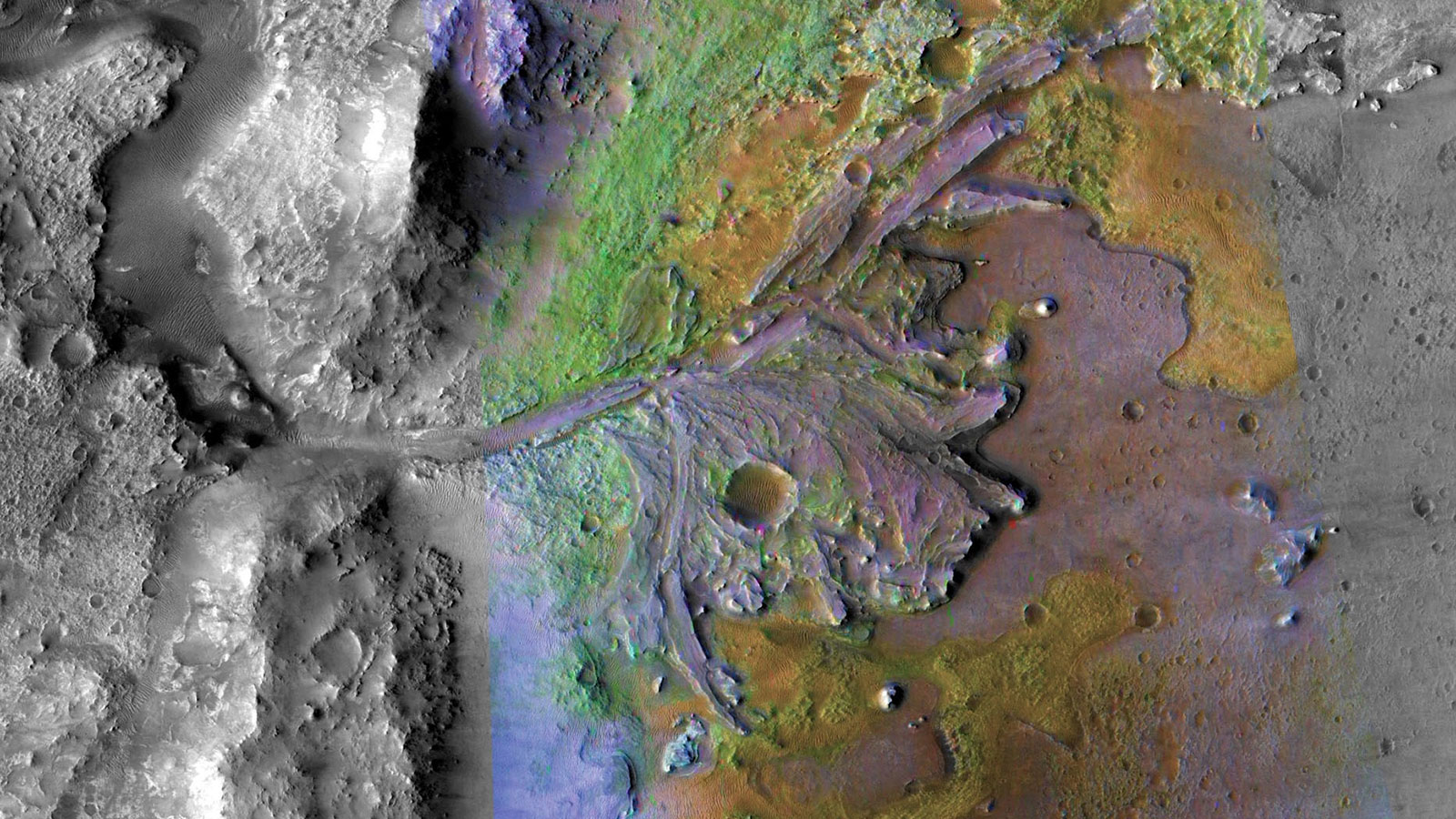 Color-enhanced view of Jezero crater on Mars.