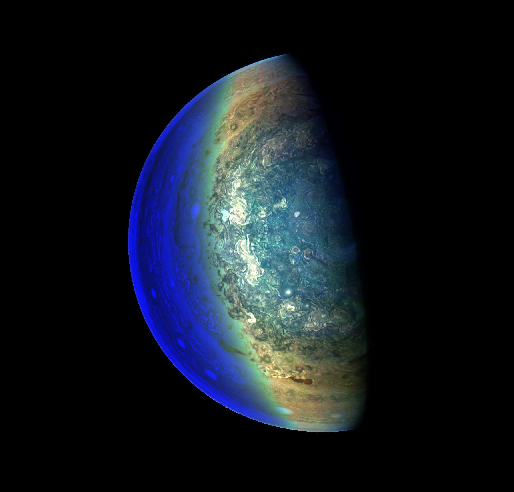 Colorful, enhanced image of Jupiter's swirling clouds.
