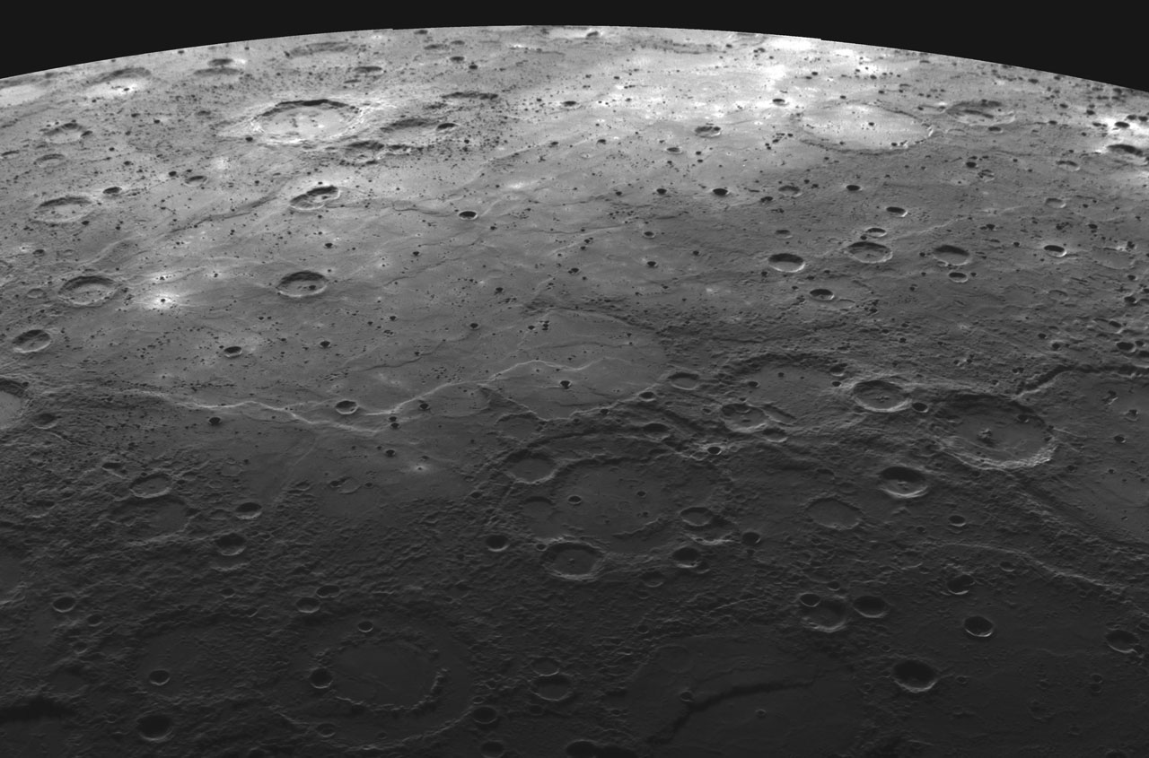 Heavily-cratered view of Mercury from orbit.