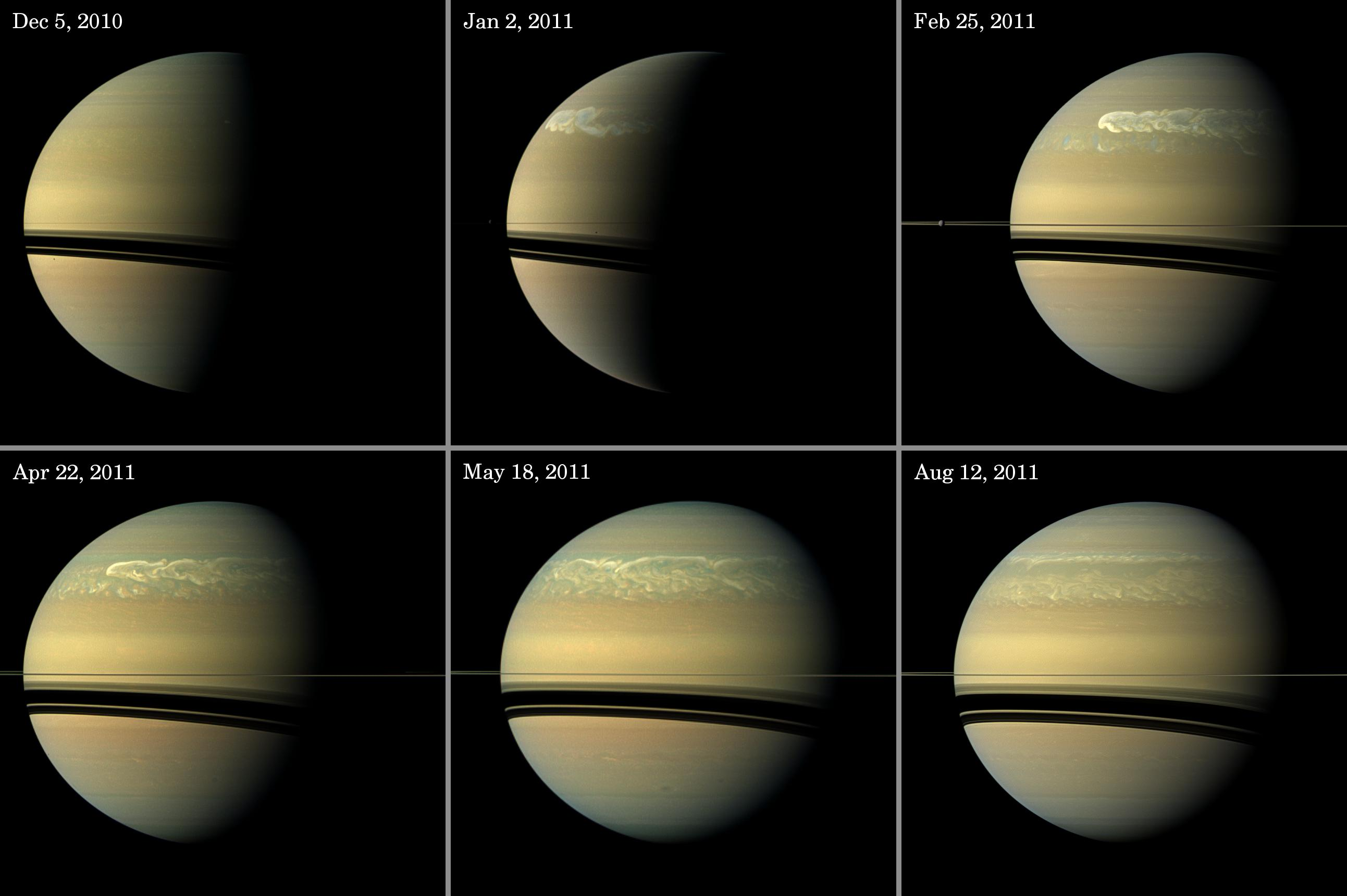 Sequence of images showing massive band of storms encircling Saturn.