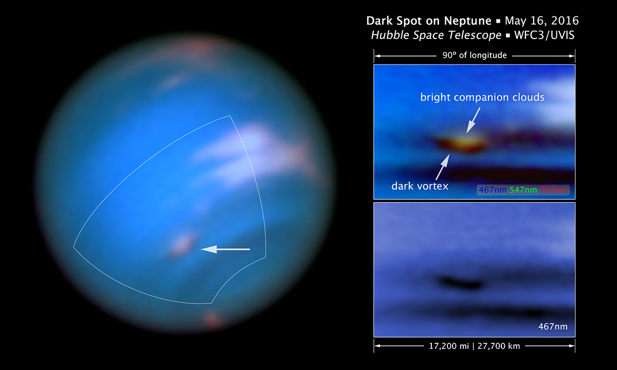 Full view of Neptune showing clouds and storms in the atmosphere.
