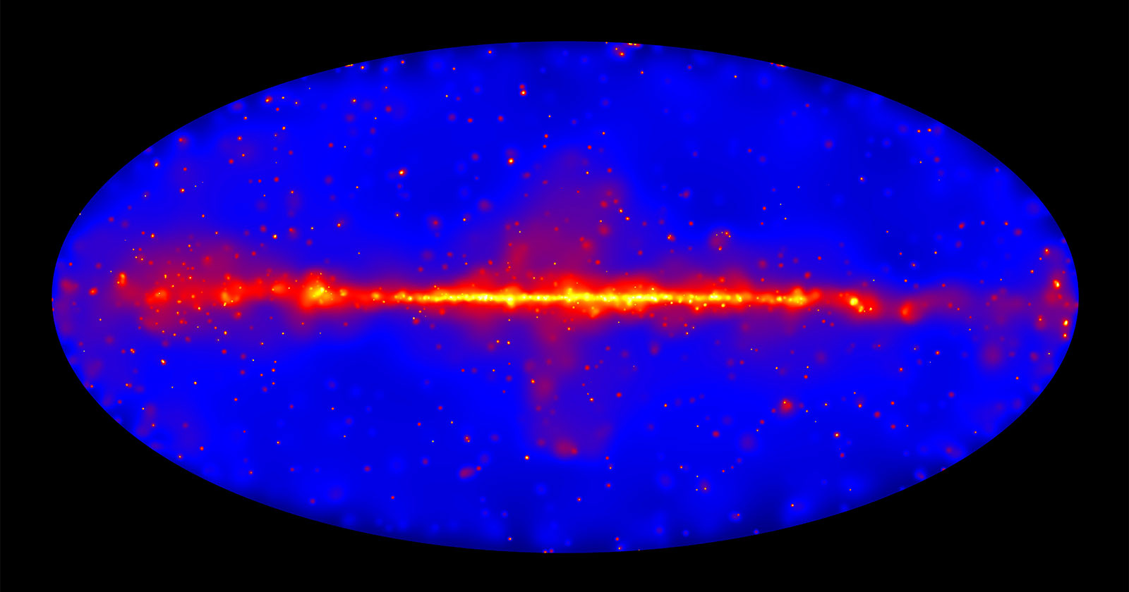 Band of bright red light representing high energy concentrations in our galaxy.
