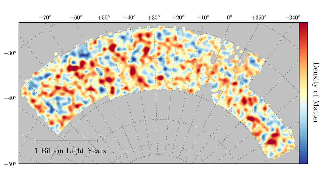 Map of dark matter made from gravitational lensing measurements of 26 million galaxies in the Dark Energy Survey.