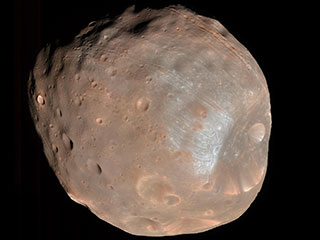 Close up on potato-shaped Phobos