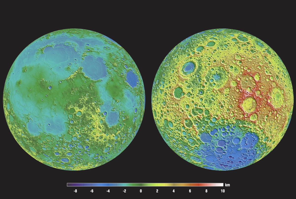 color-coded topographic map of both lunar hemispheres