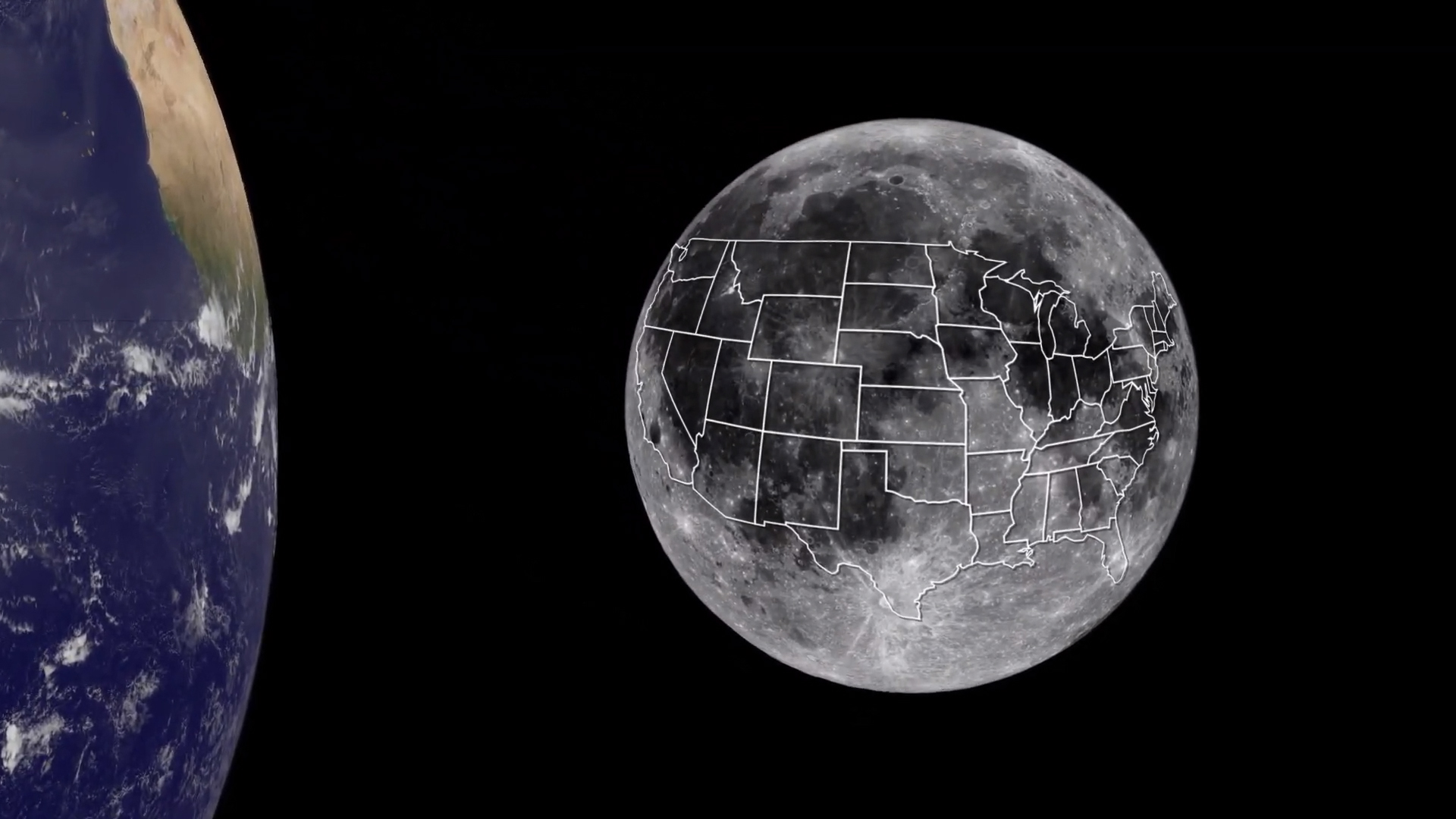 Illustration showing a map of the United States covering most of the Moon's near side.