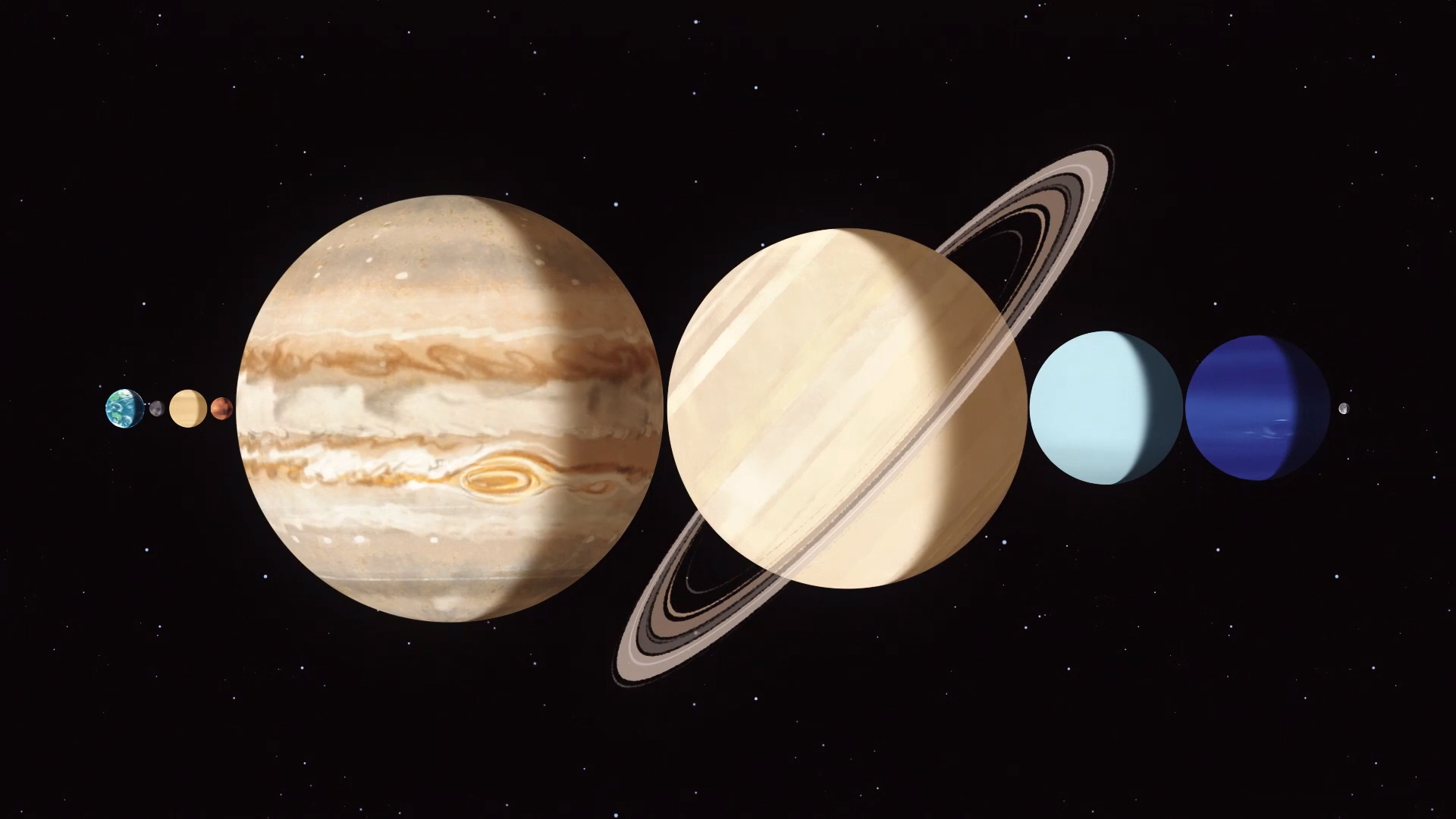 Illustration showing all the major planets together in a line between the Earth and the Moon.