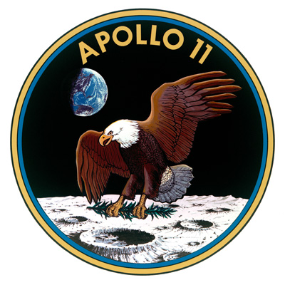 Apollo 11 patch showing an eagle landing on the Moon.