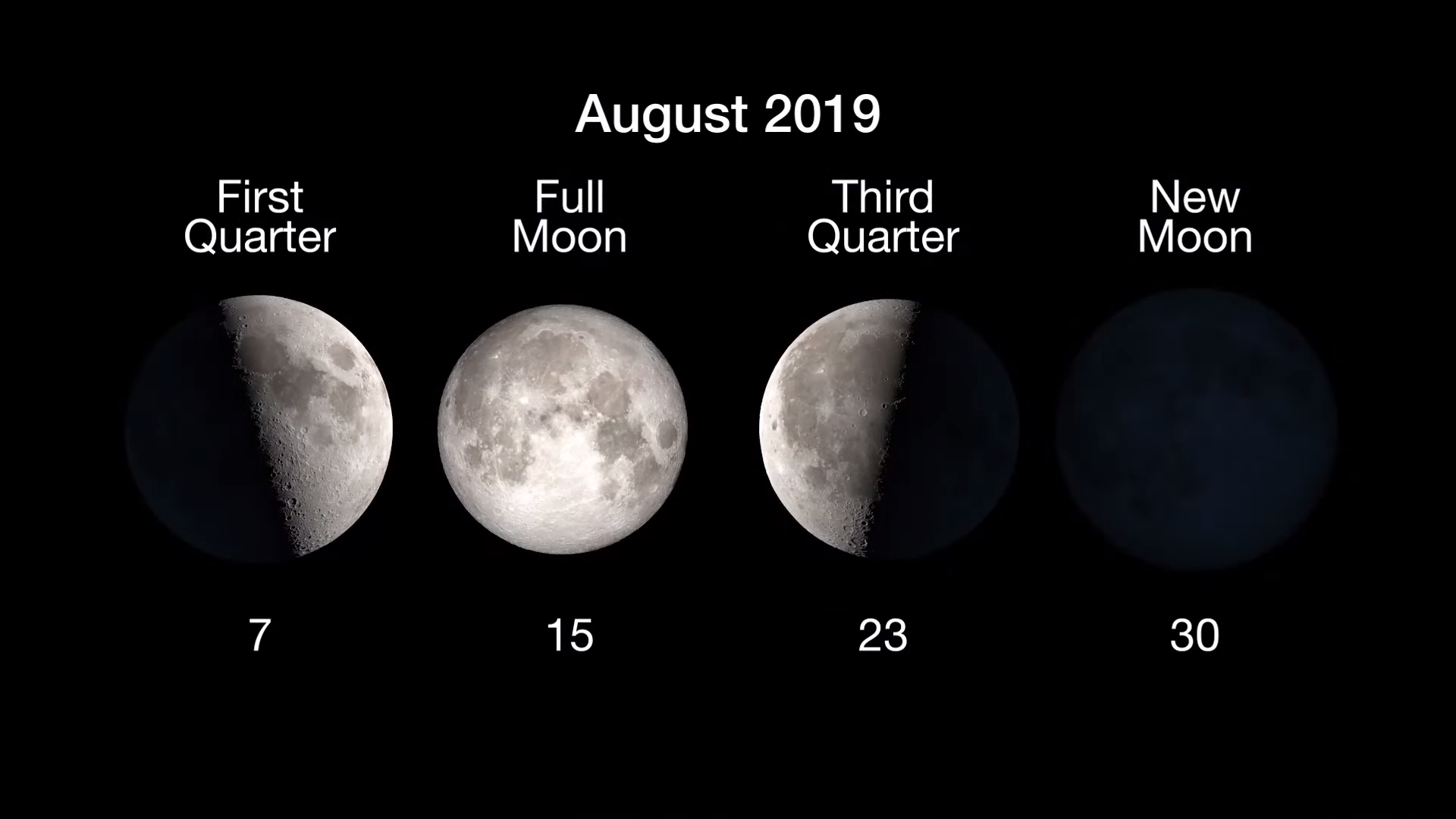 Graphic illustrating Moon phases: 1st Quarter, Aug. 7, Full Moon, Aug. 15. 3rd Quarter Aug. 23 and New Moon, Aug. 30.