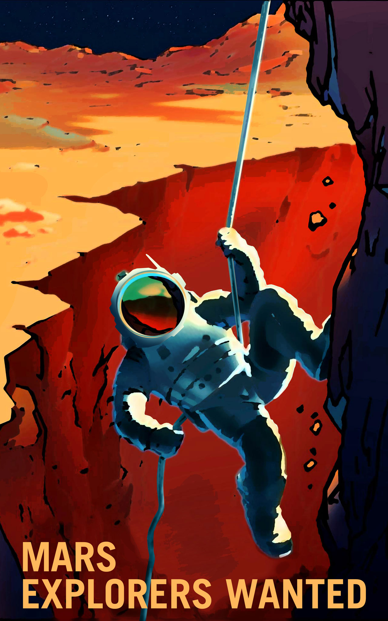 Illustration of astronaut repelling down the side of Valles Marineris.