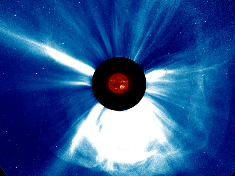 A massive coronal mass ejection erupting from the Sun.