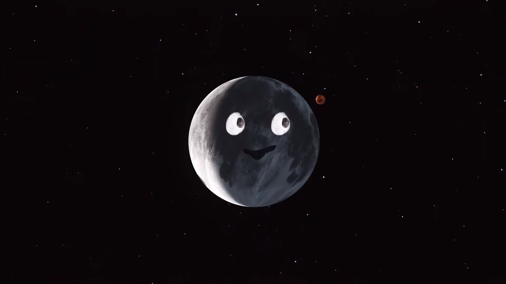 cartoon of Mars near Moon