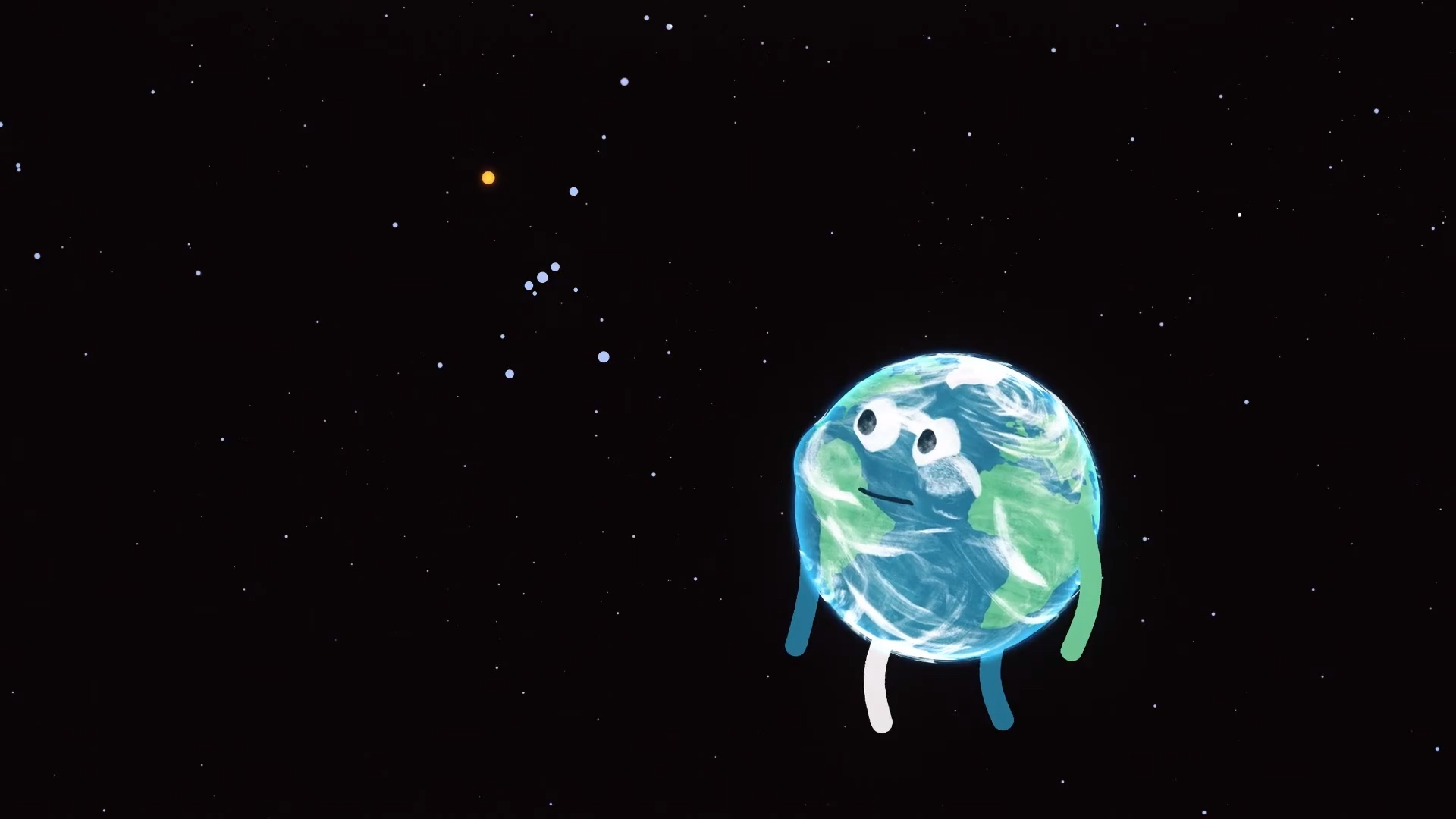 cartoon of earth watching orion, holding its breath