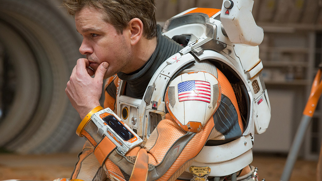 "Image from movie ""The Martian"" starring Matt Damon as Marc Watney."
