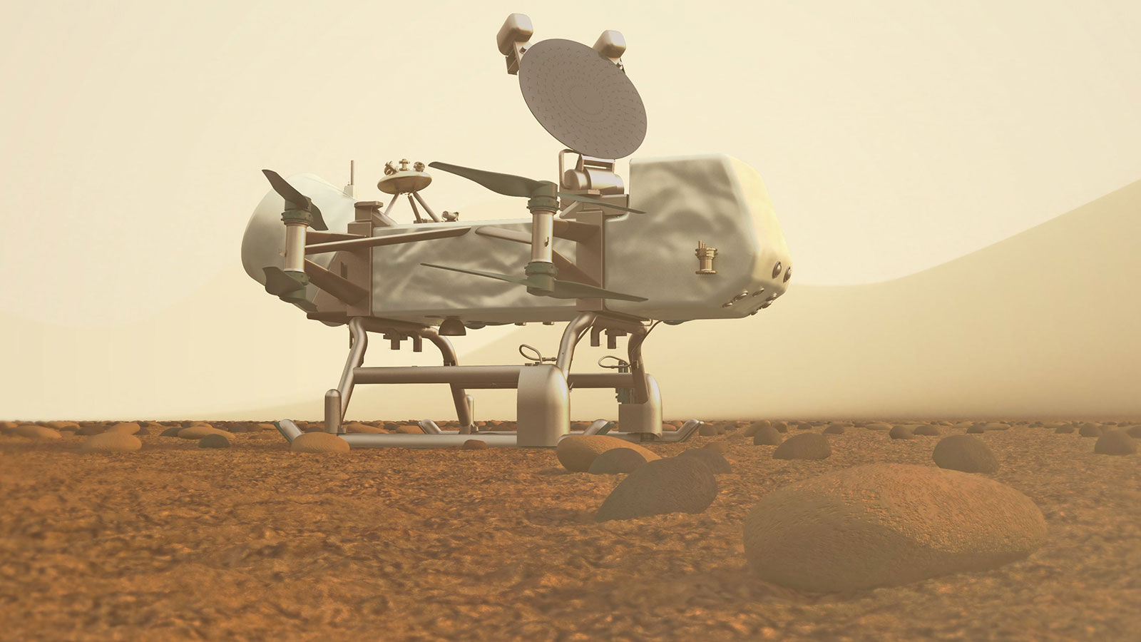 Artist's concept of rotorcraft drone on the orangish surface of Titan.