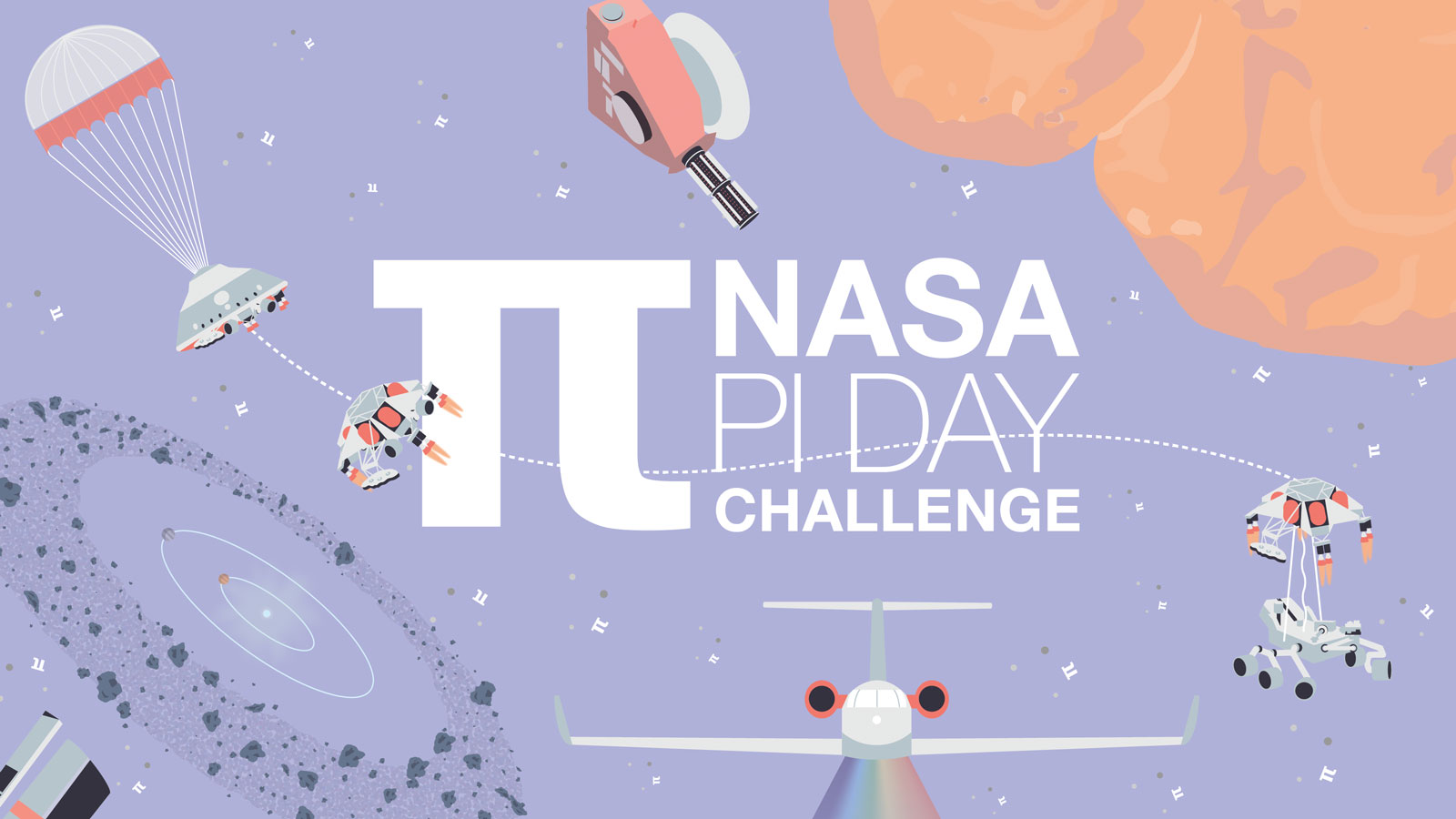 Whimsical space graphic says NASA Pi Day Challenge