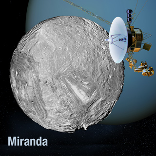 Artist's view of Voyager 2 at Miranda