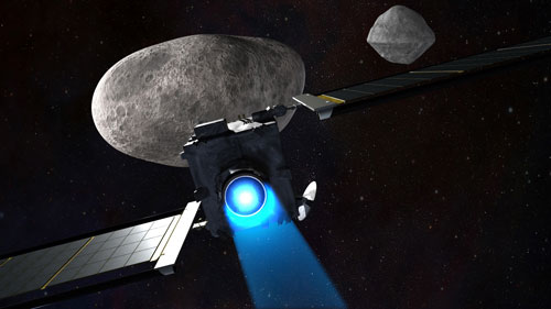 Spacecraft speeding toward an impact with the small moon of an asteroid.