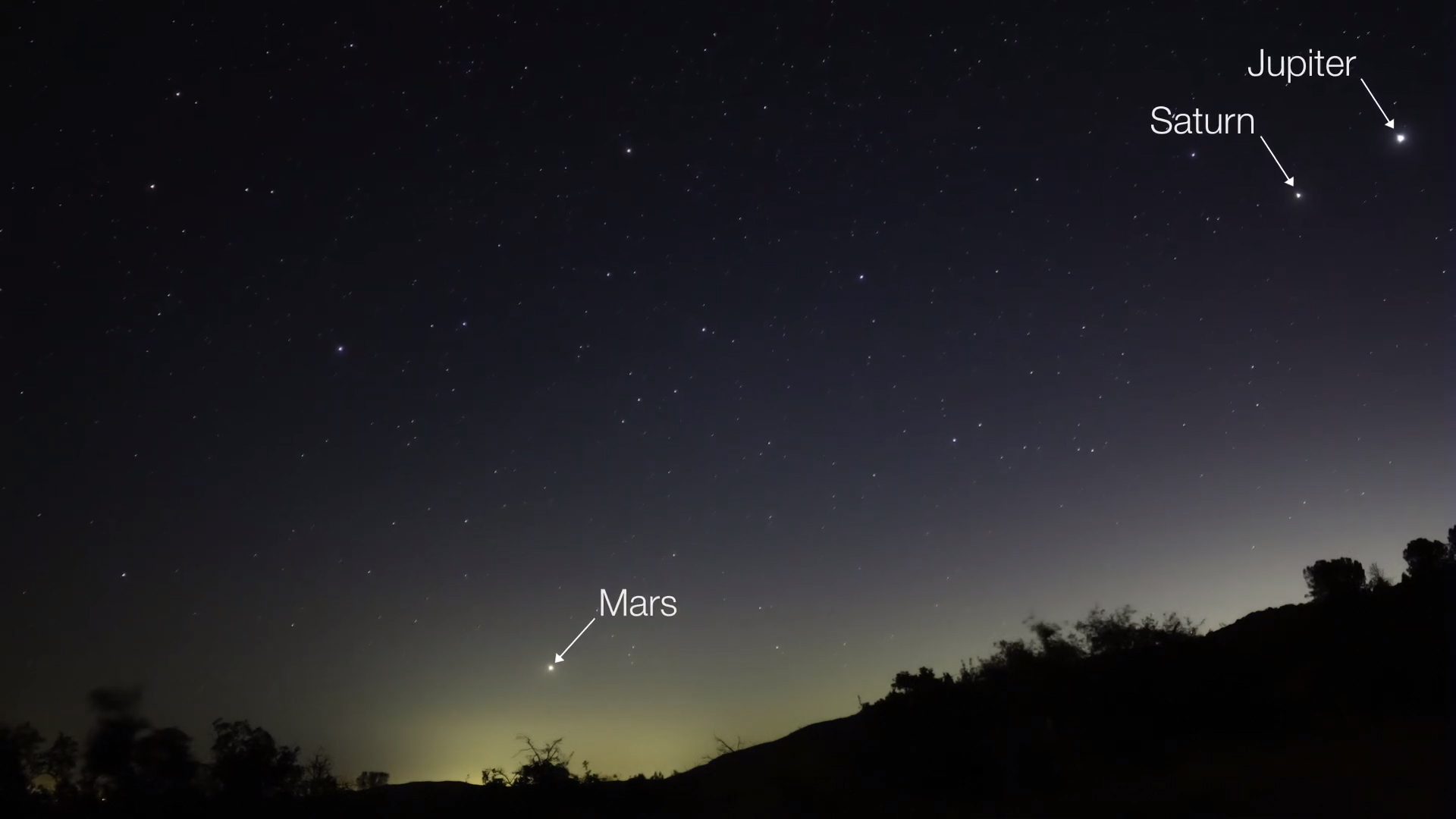 Night sky photo of Mars rising at bottom center, with Jupiter and Saturn at upper right.