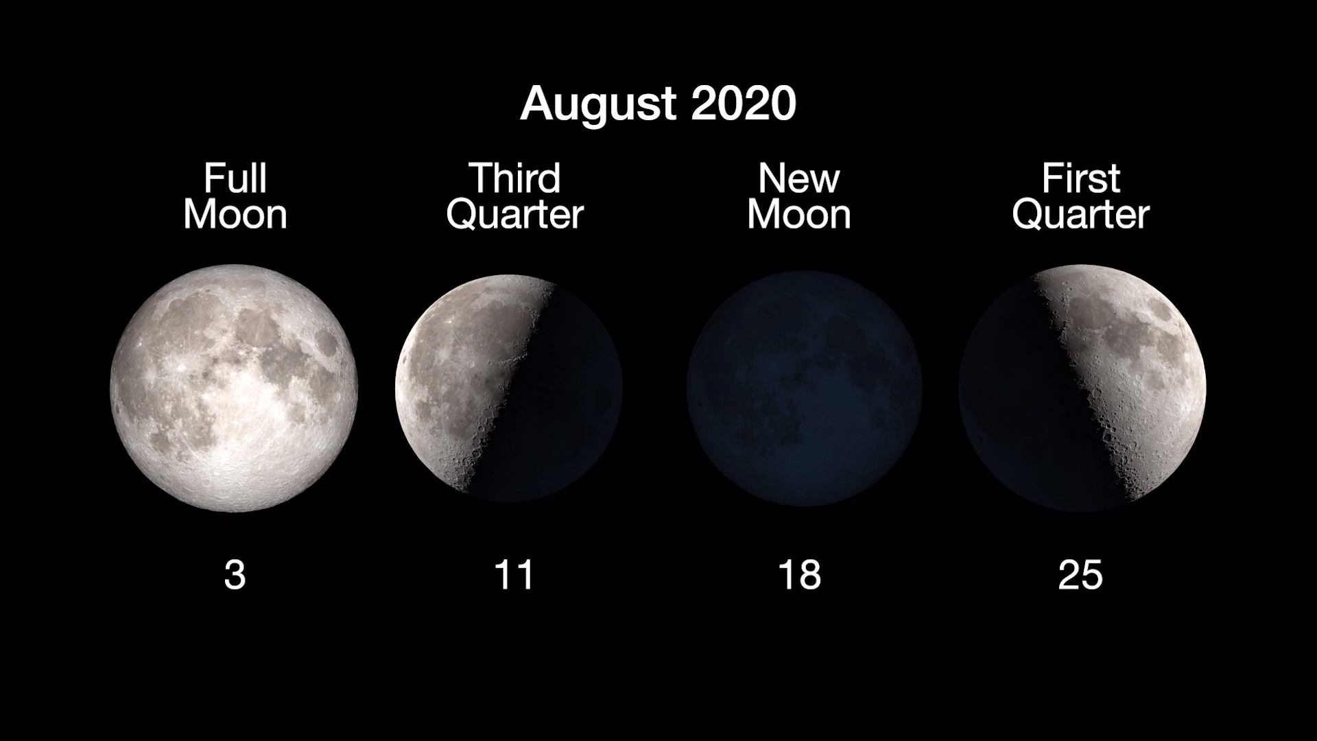 Graphic showing dates for the different phases of the Moon in August 2020.