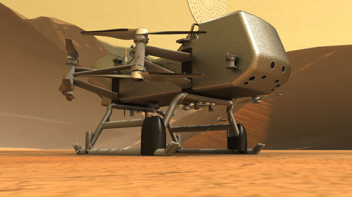 Artist's concept of Dragonfly rotorcraft on the surface of Titan.