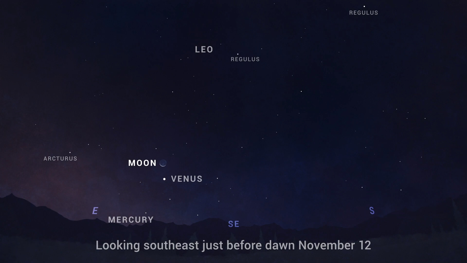Chart showing the Moon and Venus rising southeast before dawn on Nov. 12.