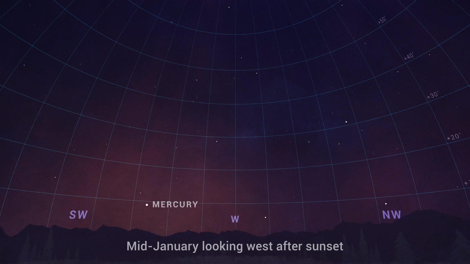 Sky chart showing where to find Mercury in the sky in late January.