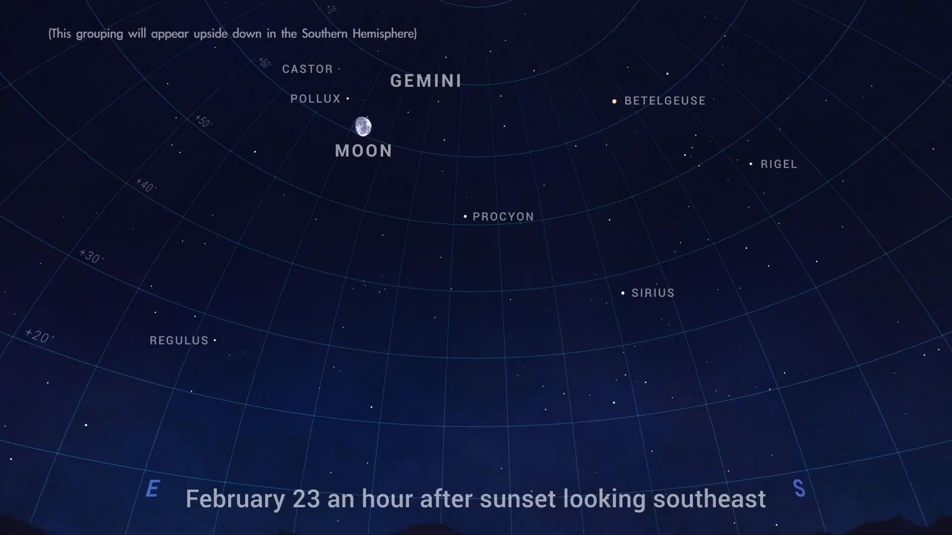 Chart showing Gemini and the Moon in the night sky to the southwest.