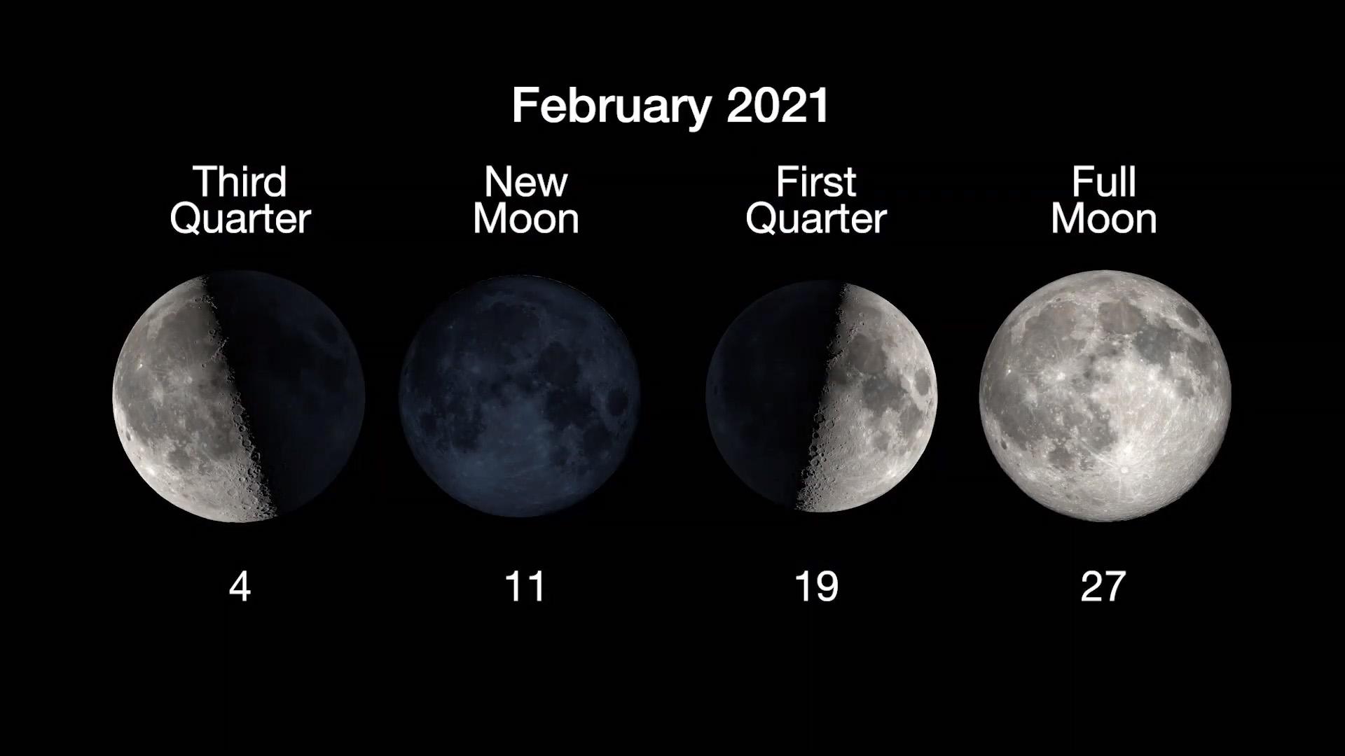 Moon phases for February: 3rd quarter, Feb. 3
