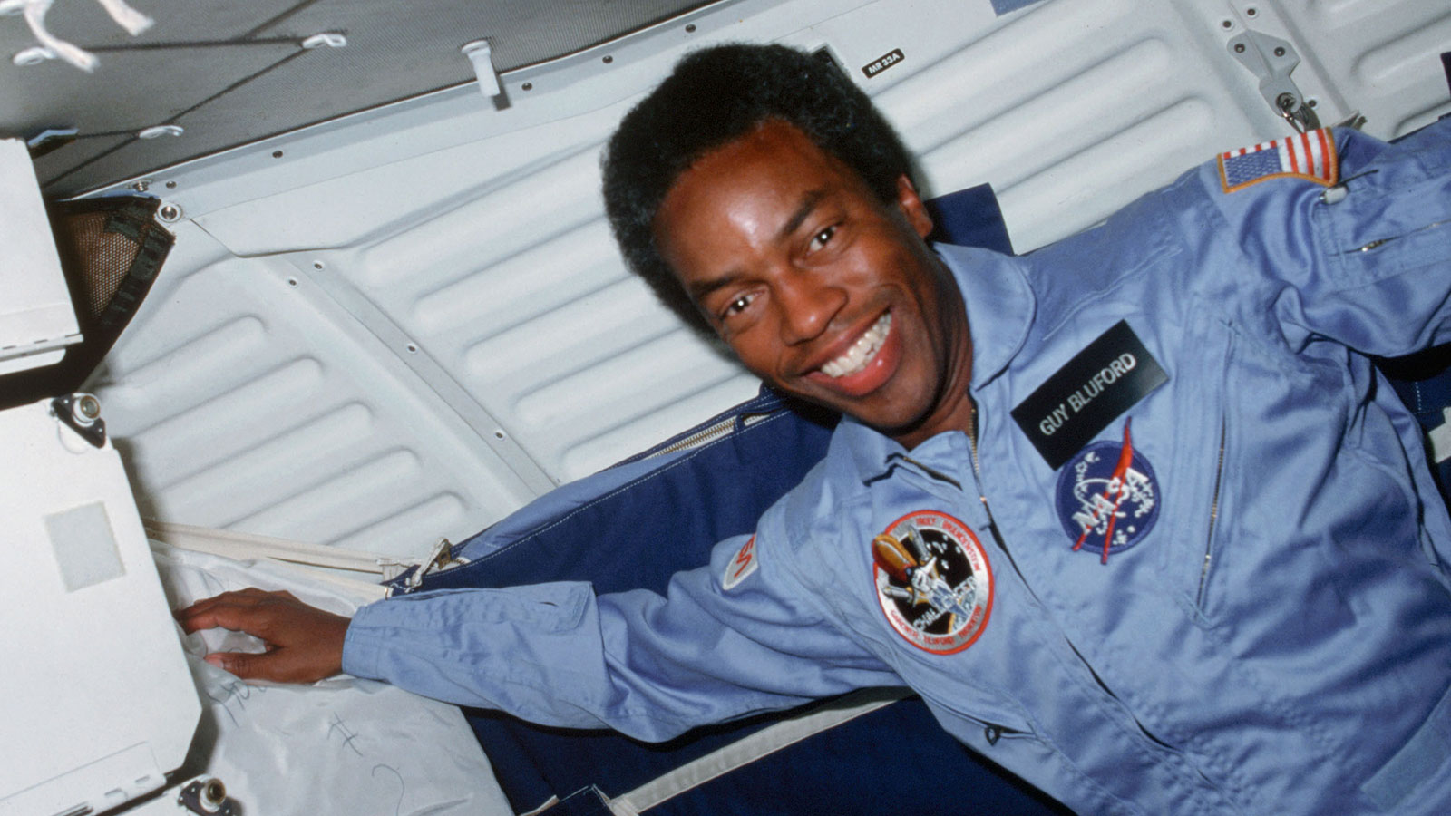 Guy Bluford smiling in space aboard the Space Shuttle