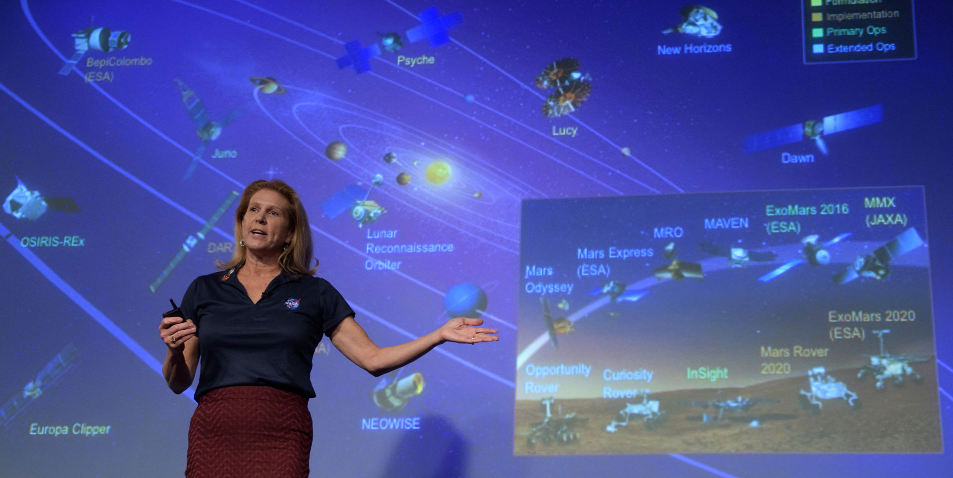 Lori Glaze in front of a giant screen showing all NASA space missions.