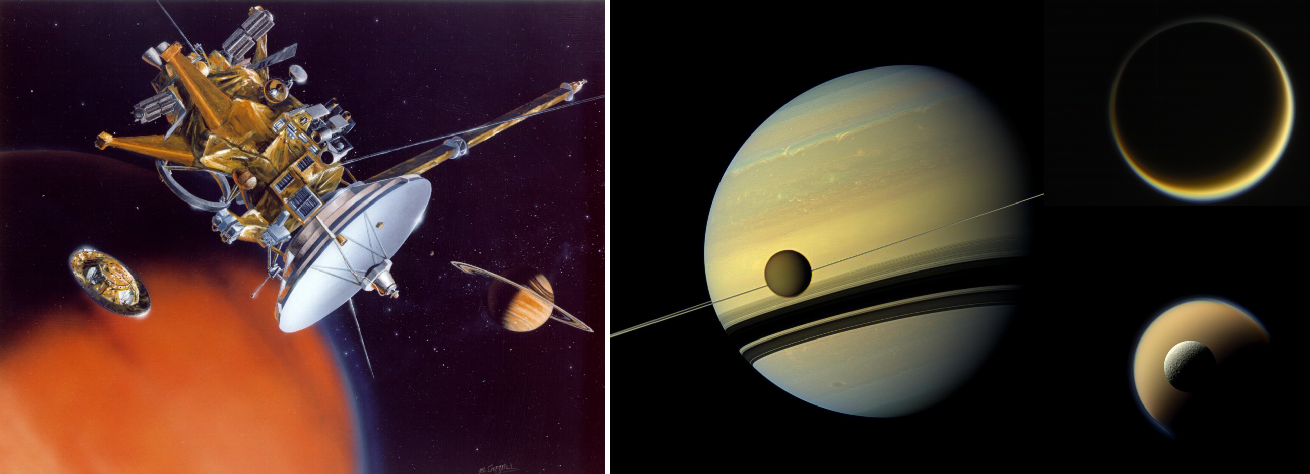 Cassini and Titan side by side