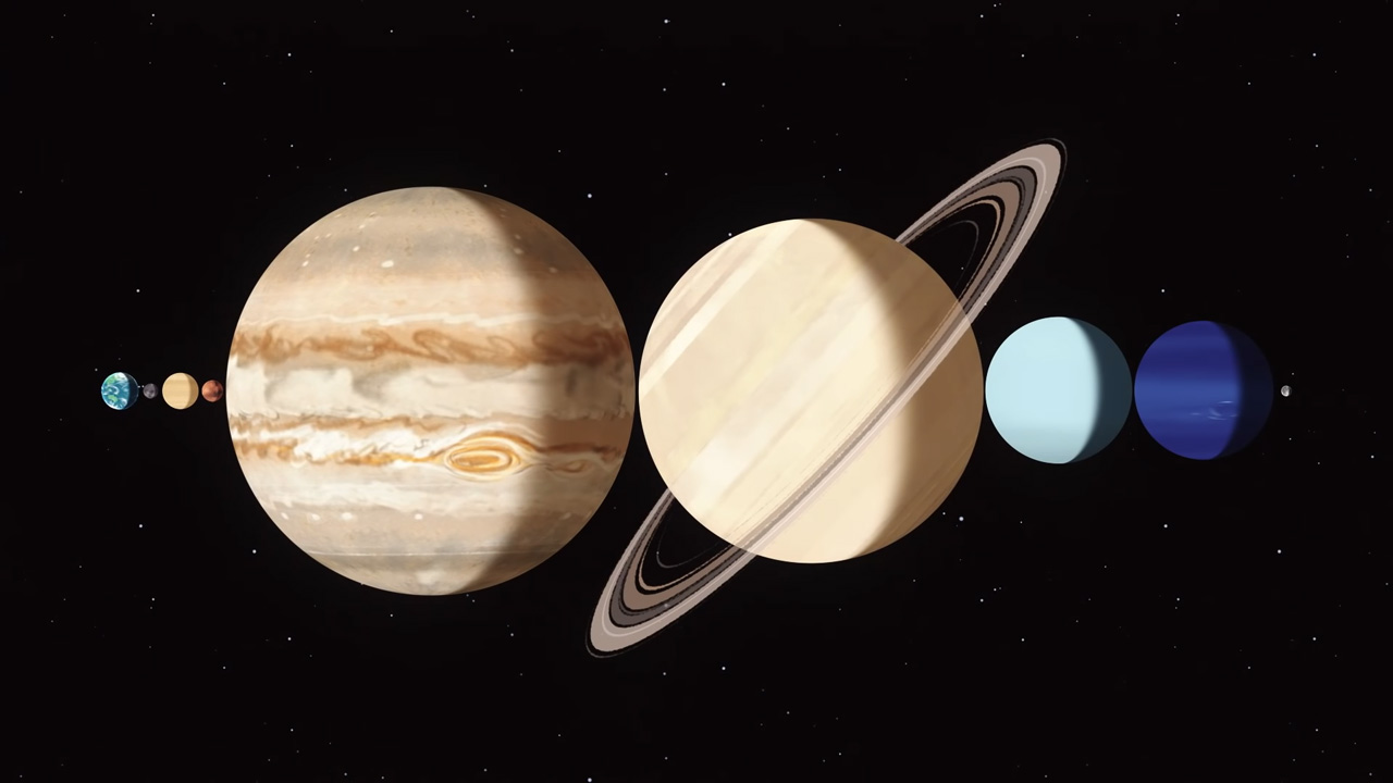 Illustration of the other 7 major planets between the Earth and Moon