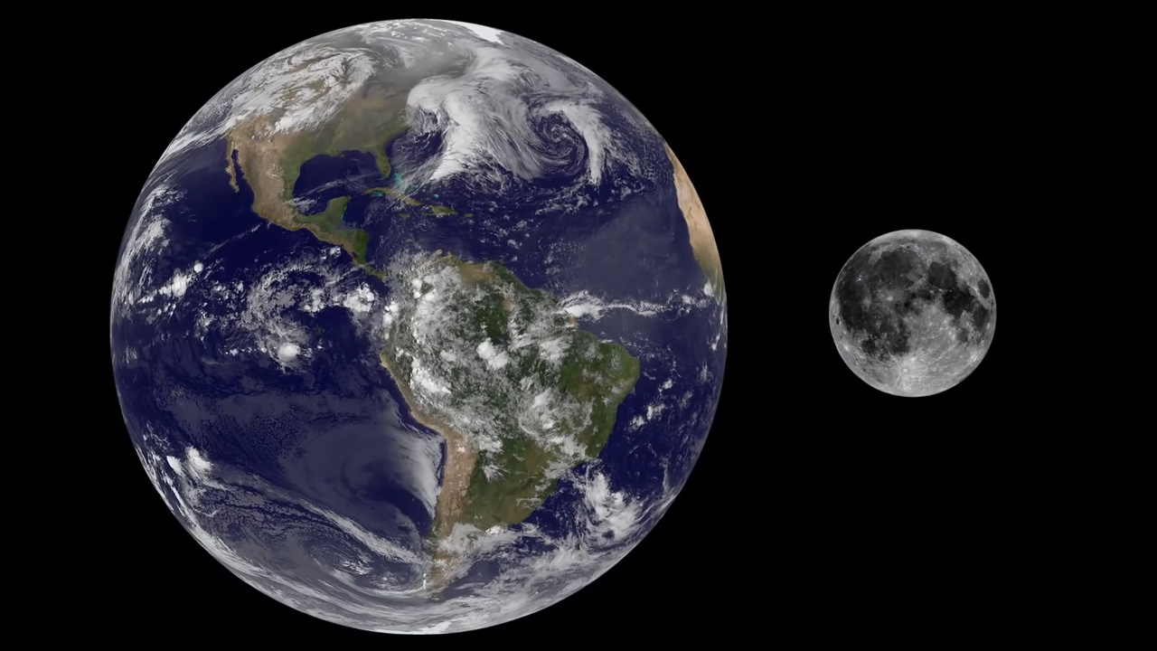 Comparison of the size of Earth and the Moon