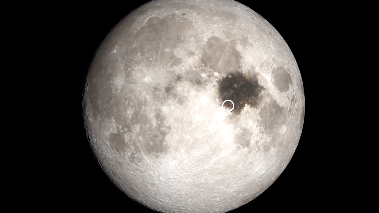Image of the Moon indicating the Apollo 11 landing site