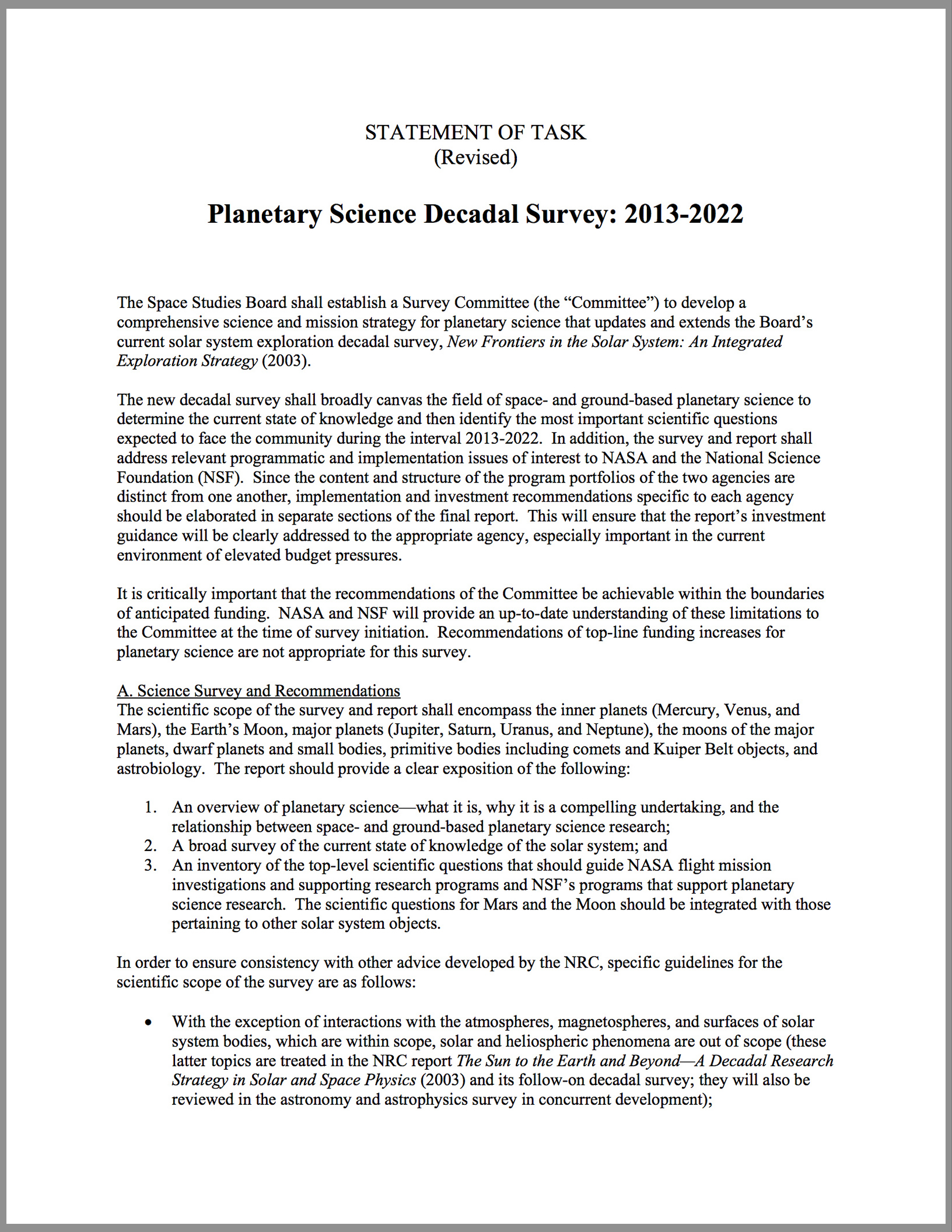 Planetary Science Decadal Survey: 2013-2022