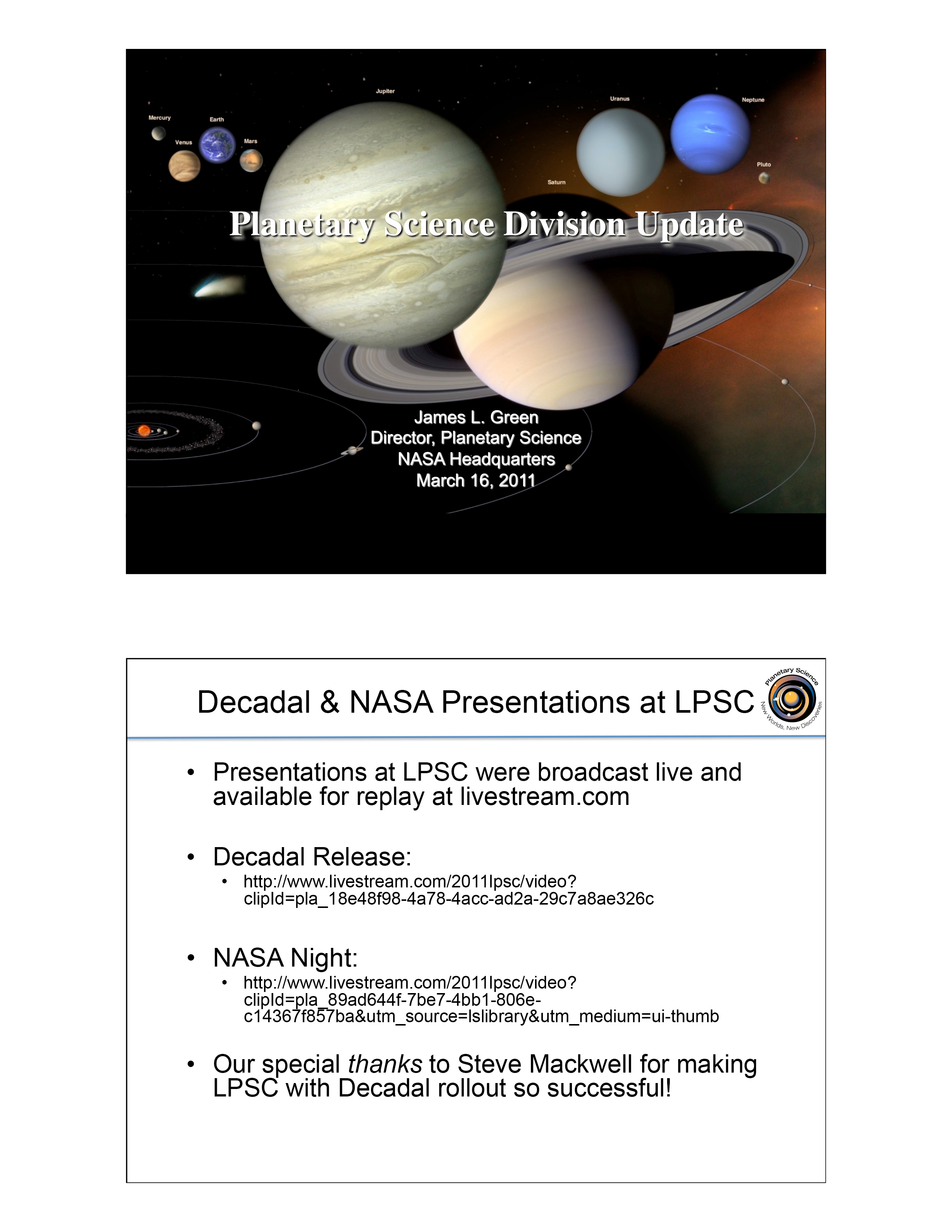 Planetary Science Division Update by Planetary Science Division Director Dr. James Green