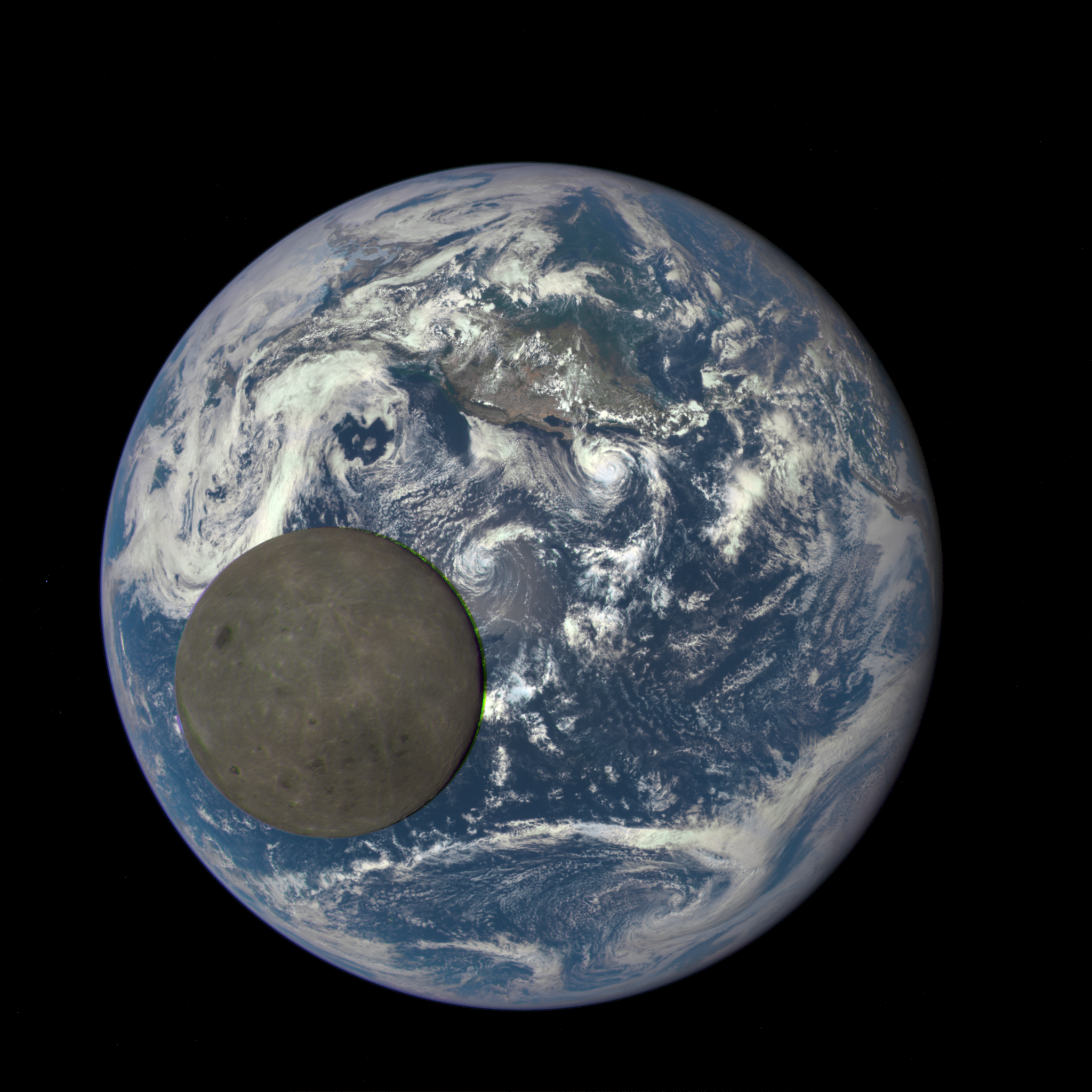 Moon Far Side in Front of Earth