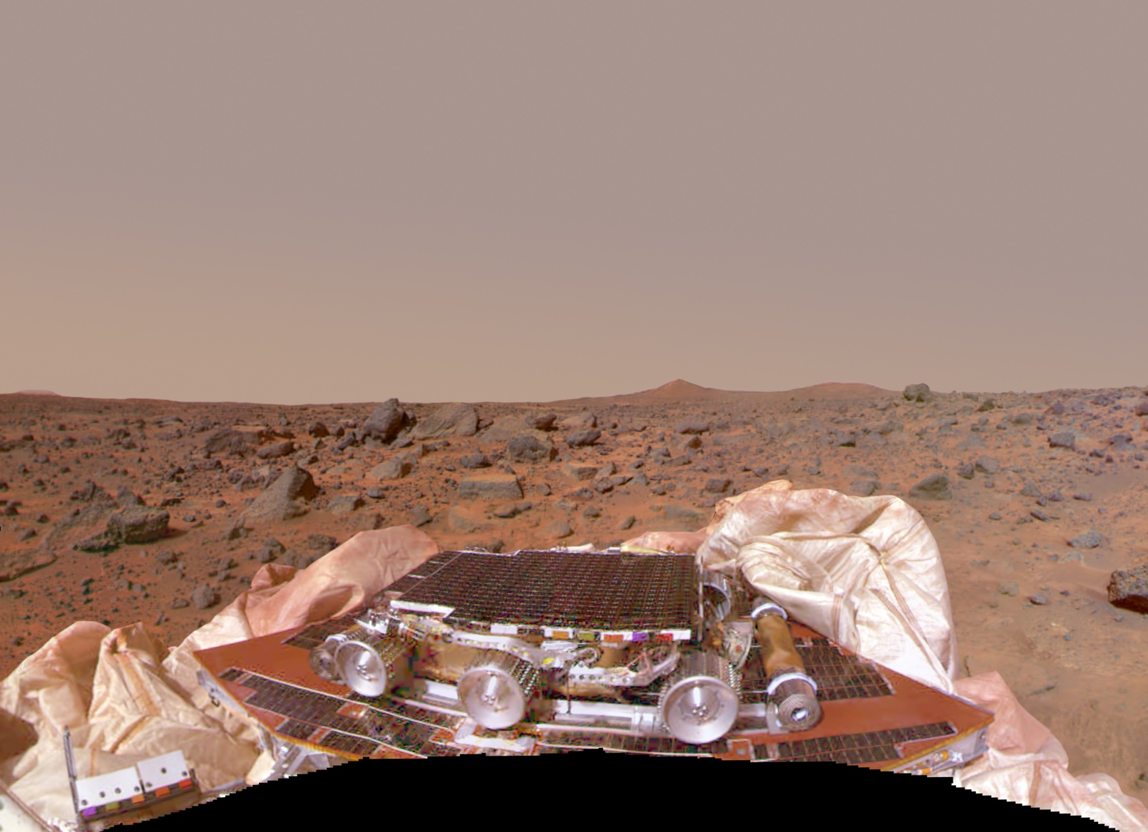 Mars Pathfinder shortly after landing on Mars.