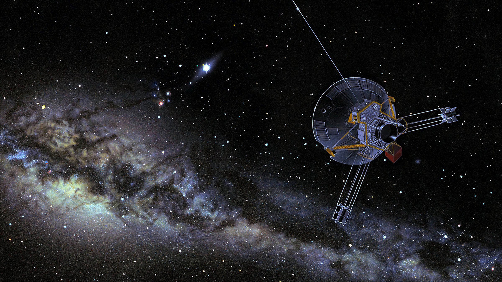 Pioneer Spacecraft with Milky Way in background.