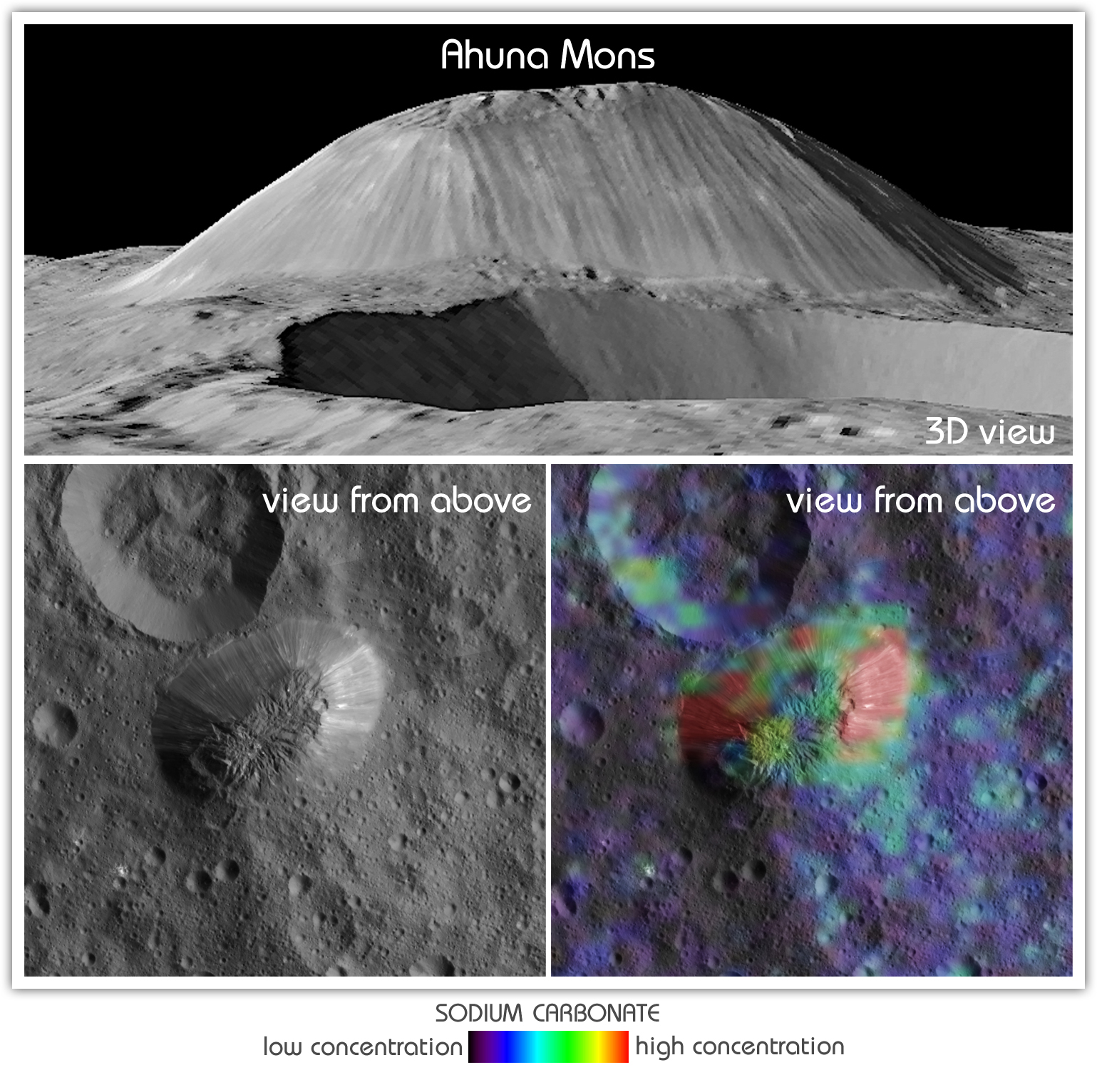 Ceres' tallest mountain, Ahuna Mons